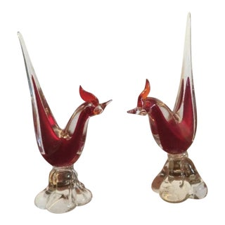 Sommerso Artistico Veneziano Murano Italian Art Glass Rosters Figurine - a Pair For Sale
