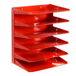 Retro Office Mail File Organizer Refinished in Fire Engine Red/ Free u.s. Shipping