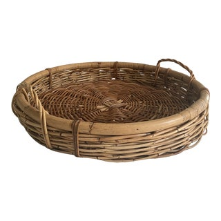 Palm Beach Boho Vintage Woven Bamboo Serving Basket For Sale