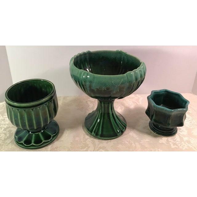 Modern Green Drip Glaze Ceramic Planters - Set of 3 For Sale - Image 3 of 11