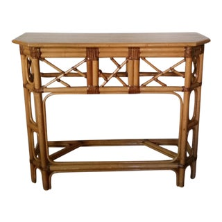 Boho Chic Bamboo Rattan Sofa Table / Dry Bar For Sale