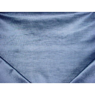 Traditional Duralee Firenze Velvet Chambray Metallic Blue Drapery Upholstery Fabric - 7-3/8y For Sale