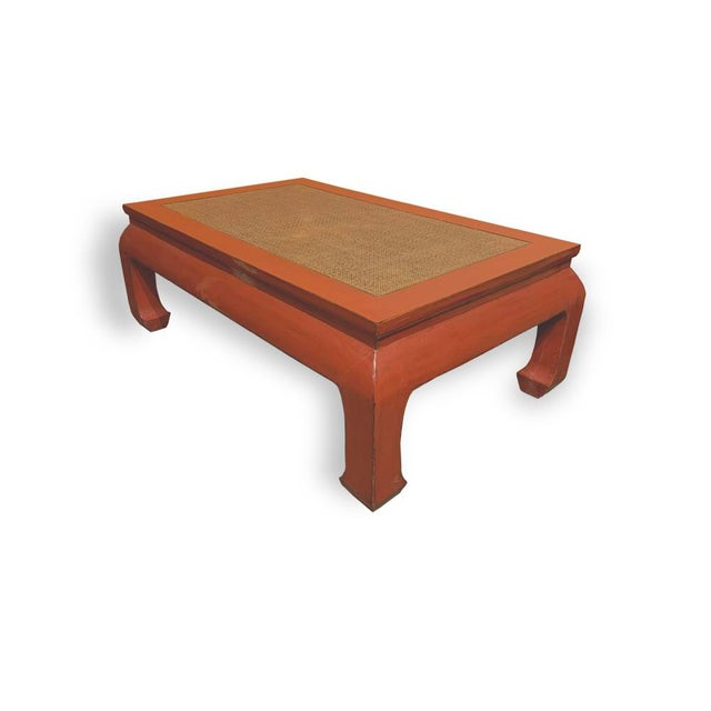 Chinese Ming Style Rattan Insert Coffee Table For Sale - Image 3 of 4