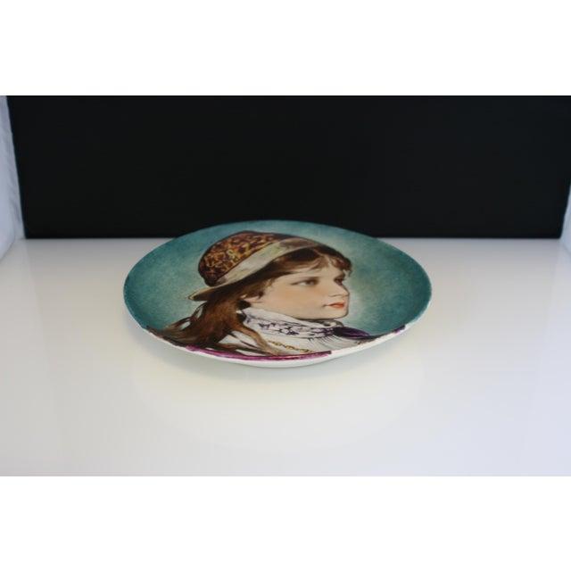 P.J. Ulrich Antique Porcelain Hand Painted Portrait Plate For Sale - Image 4 of 4