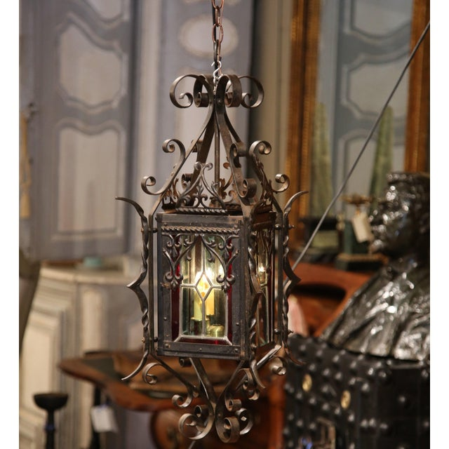 19th Century French Napoleon III Black Iron Lantern With Stained Glass Panels For Sale In Dallas - Image 6 of 9