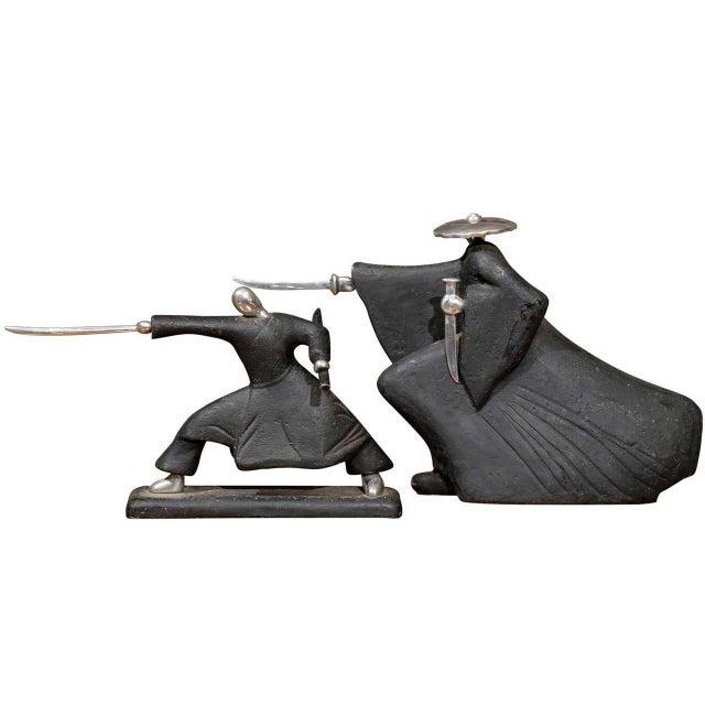 Vintage Modern Japanese Samurai Statues - A Pair For Sale