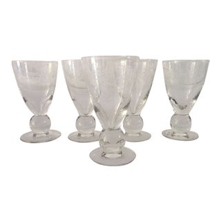 Midcentury Etched Clear Glass Water Goblets - Set of 5