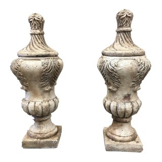 French Antique Terra Cotta Garden Urns With Lids - a Pair