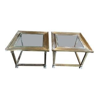 1970s Mid-Century Modern Mastercraft Brass Side Tables - a Pair For Sale