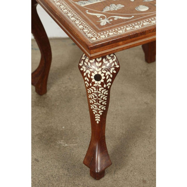 Anglo Indian Moorish style inlaid sandalwood square side table. Fine and elegant Moorish style Anglo-Indian octagonal...