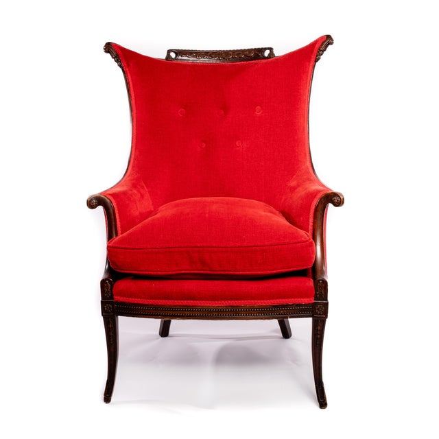 1970s Tufted Red Velvet Chenille and Wood Lounge Chair For Sale - Image 5 of 5