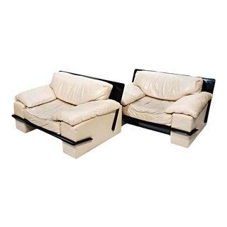 Leather Modern Club Chairs - A Pair