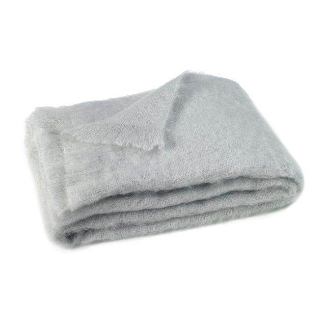 Transitional Silver Brushed Mohair Throw For Sale - Image 3 of 3