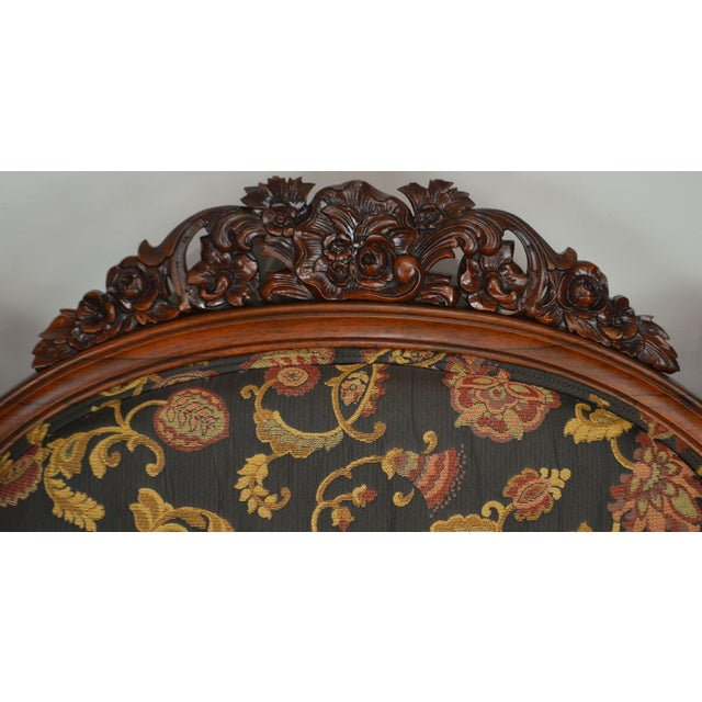 Black Rococo Revival Fine Carved Rosewood Sofa For Sale - Image 8 of 13