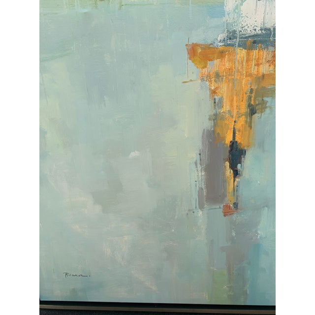 Blue Original Abstract Oil on Canvas in Floating Silver Gilt Frame For Sale - Image 8 of 12