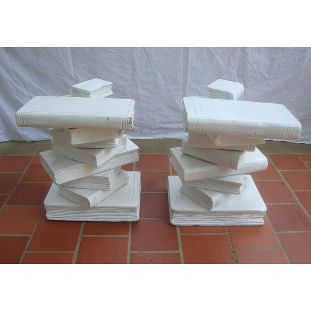 Mid 20th Century Trompe l'Oeil Stacked Library Book Pedestals for Side Tables, Coffee Table or Bench, a Pair For Sale - Image 5 of 7