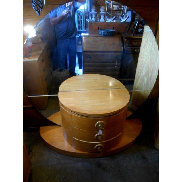 1930's Vintage Art Deco Vanity Table With Moon Mirror For Sale - Image 6 of 10