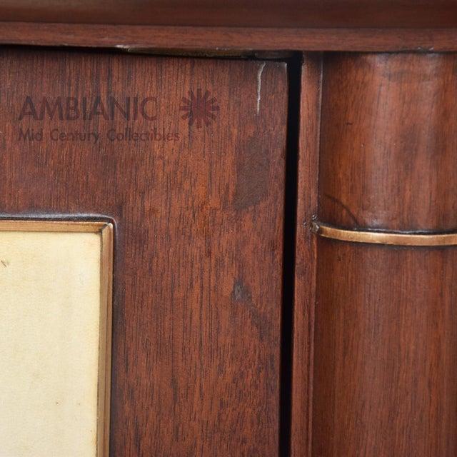 Arturo Pani Dramatic Curved Mahogany Goatskin Credenza For Sale - Image 4 of 7