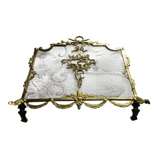 Vintage French Louis XVI Brass Fireplace Screen / Gate For Sale