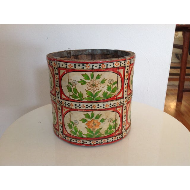 Metal Hand-Painted Wood Pail/ Vessel For Sale - Image 7 of 7