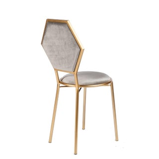 Le Petit Chair in Gray Velvet With Gold Legs Preview