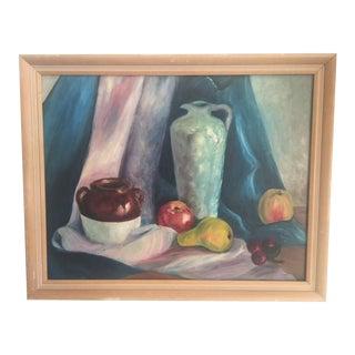 Vintage Fruit & Vase Still Life Painting For Sale