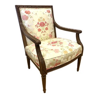 1990s Vintage French Carved Louis XVI Style Floral Arm Chair For Sale