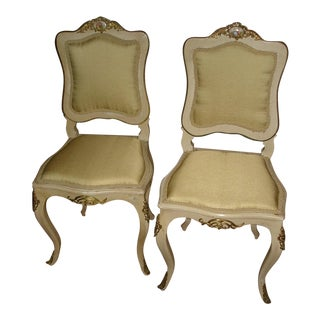 1920s Antique French Louis XV Style Side Chairs - A Pair For Sale