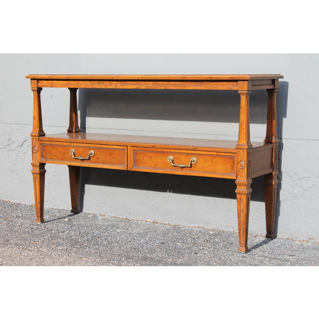 1960s Traditional Walnut 2 Drawer Hall Console Table For Sale - Image 4 of 13