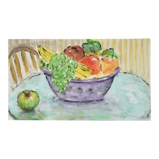 1989 Vintage Still Life of Fruit on Bowl Oil Painting by H Bernstein For Sale