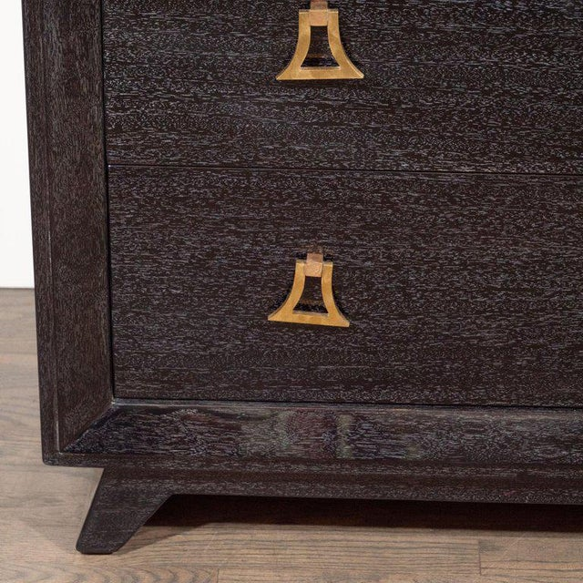 1950s Pair of Mid-Century Modern Silver Cerused Chests With Stylized Brass Pulls For Sale - Image 5 of 10
