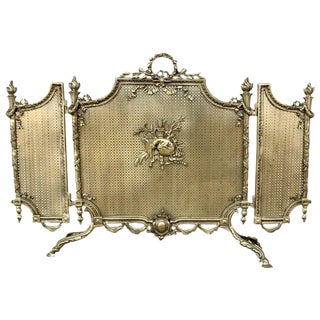 19th Century French Louis XVI Style, Three-Panel Bronze Fire Screen For Sale