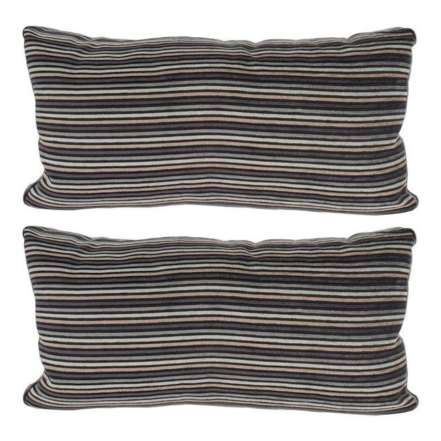 Textile Pair of Modern Rectangular Striped Velvet Pillows in Neutral Silver & Gold Tones For Sale - Image 7 of 7