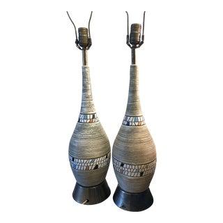 Mid Century Pair of Ceramic Lamps For Sale