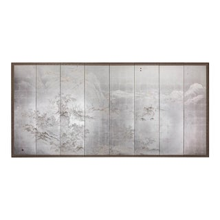 Japanese Modern Chinese Coastal Mountain Landscape 8 Panel Screen For Sale