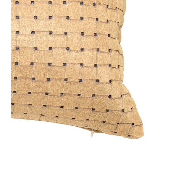 Contemporary Contemporary Beige Laser Cut Cowhide Lumbar Pillow For Sale - Image 3 of 6