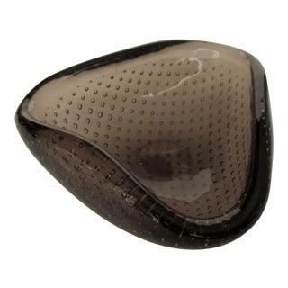 C.1950's Italian Hand-Blown Flavio Poli Murano Smoke Coffee Ring, orJewelry Bowl With Bullicante Bubbles For Sale