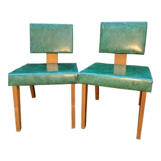 Mid Century Walnut & Emerald Accent Chairs - a Pair For Sale