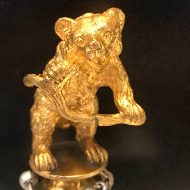 "Gold 19th Century Russian Ormolu ""Dancing Bear"" Sculpture For Sale - Image 8 of 11"