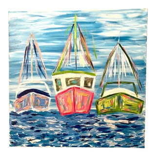 """Paradise Isle"" Abstract Boat Painting For Sale"