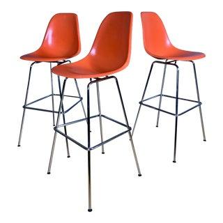 Charles & Ray Eames Fiberglass Shell Bar Stools for Herman Miller - Set of 3 For Sale