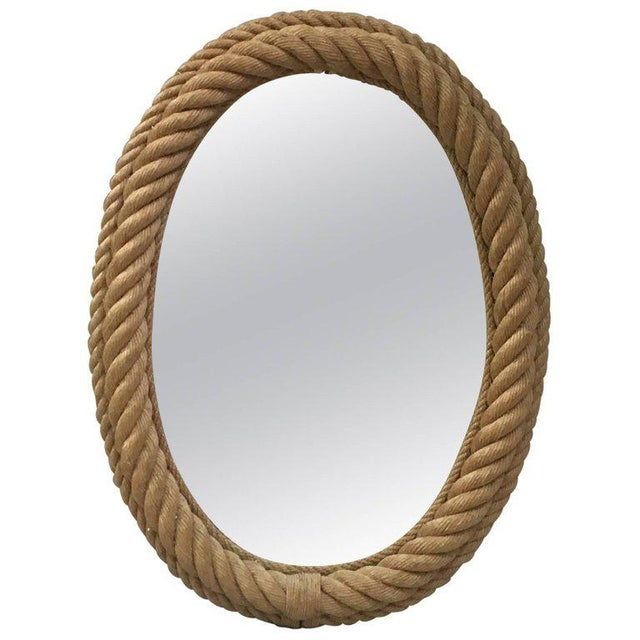 Adrien Audoux and Frida Minet 1960s Vintage Audoux Minet Oval Rope Mirror For Sale - Image 4 of 4