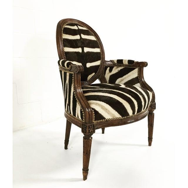 Louis XVI Style Walnut Bergere in Zebra Hide - Image 2 of 7