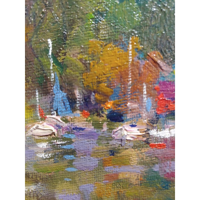 Country Kairong Liu -Landscape W/Ship on Lake - Oil Panting For Sale - Image 3 of 9