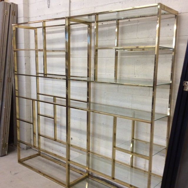 1970s Brass & Glass Etageres - a Pair For Sale - Image 9 of 11
