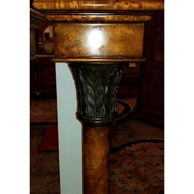 Late 20th Century Theodore Alexander Biedermeier Burl Yewood and Bronze Mounted Pillars - a Pair For Sale - Image 5 of 13