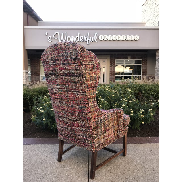 1990s Vintage Wing Back Host Dining Chairs- a Pair For Sale - Image 5 of 10