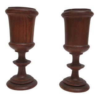 Pair of English Antique Wooden Cups For Sale