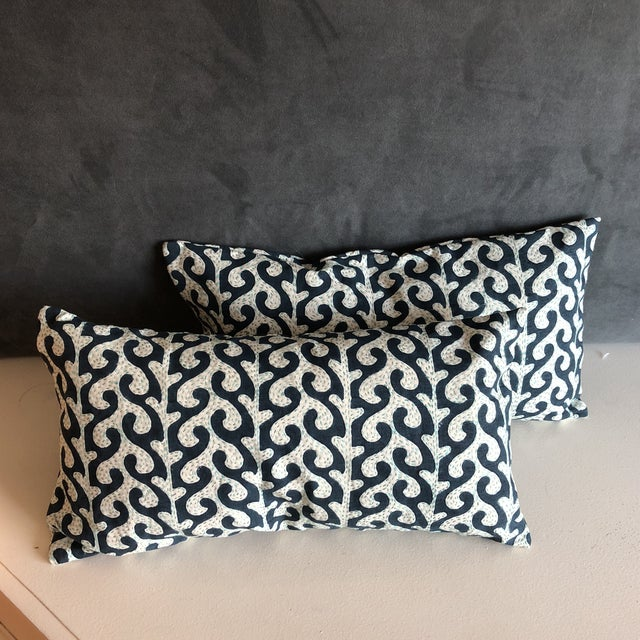 Navy Waves Hand Stitched Pillows - A Pair - Image 7 of 7
