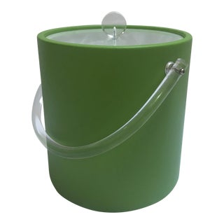 Green Leather and Lucite Ice Bucket For Sale
